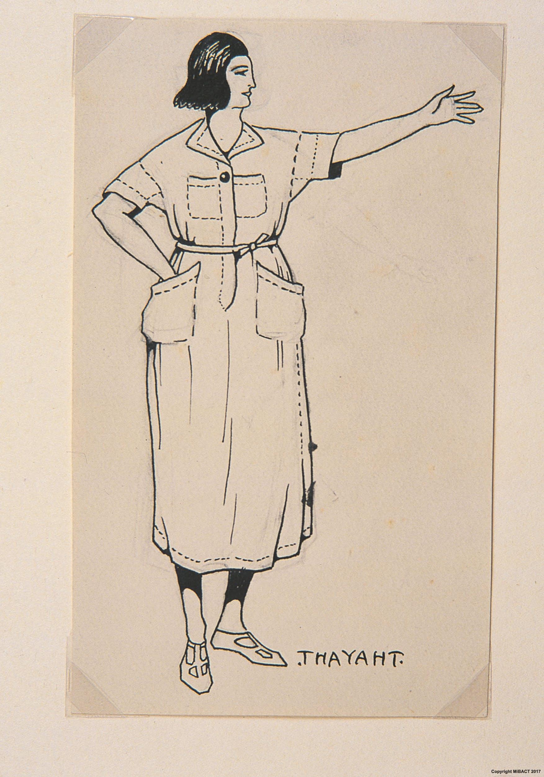 Thayaht, Modello della Tuta femminile, 1920, matita nera e inchiostro di china su carta, cm 18,5 x 11