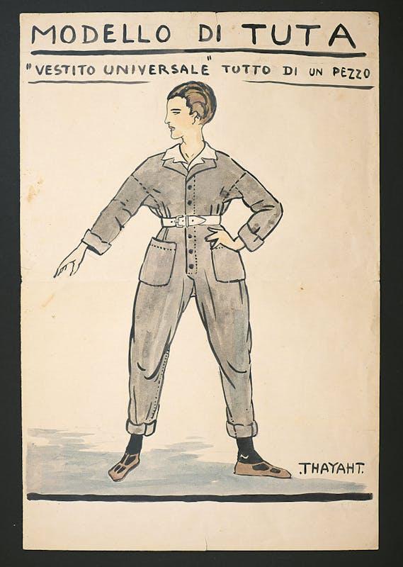 Thayaht, Modello di Tuta, 1920 ca., tempera su carta, 60,5 x 40 cm
