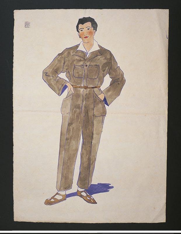 Thayaht, Modello di Tuta, 1920 ca., tempera e inchiostro su carta, cm 47,5 x 34