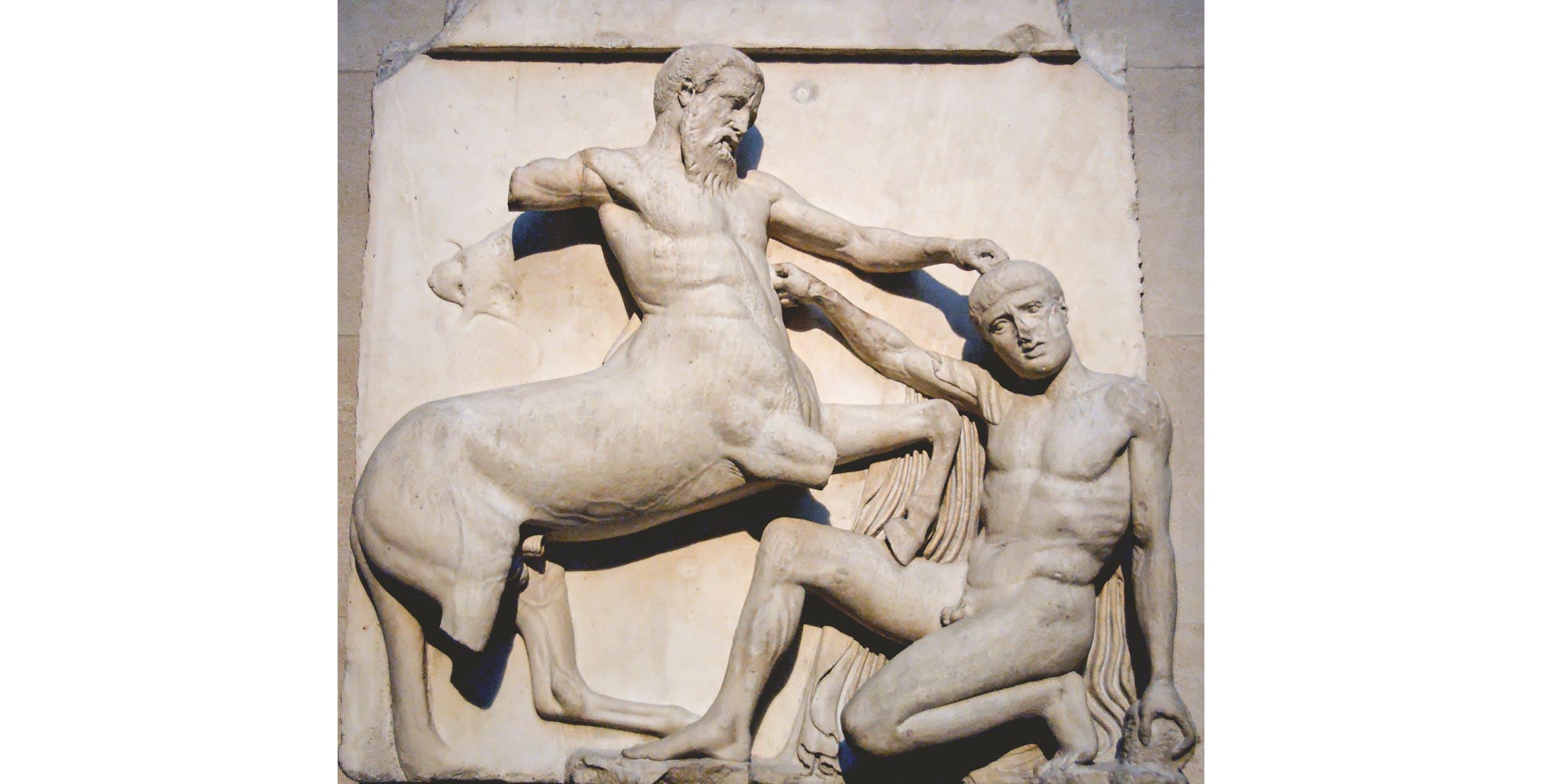 Metopa sud del fregio meridionale Partenone con scena di lotta tra Centauro e Lapita. Londra, British Museum