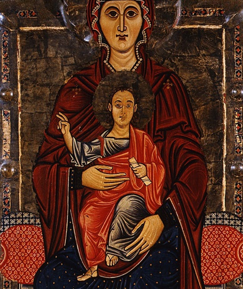 Virgin and Child enthroned; Annunciation