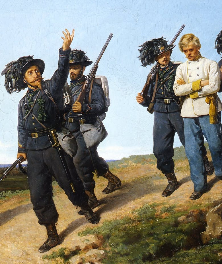 Sharpshooters leading Austrian prisoners