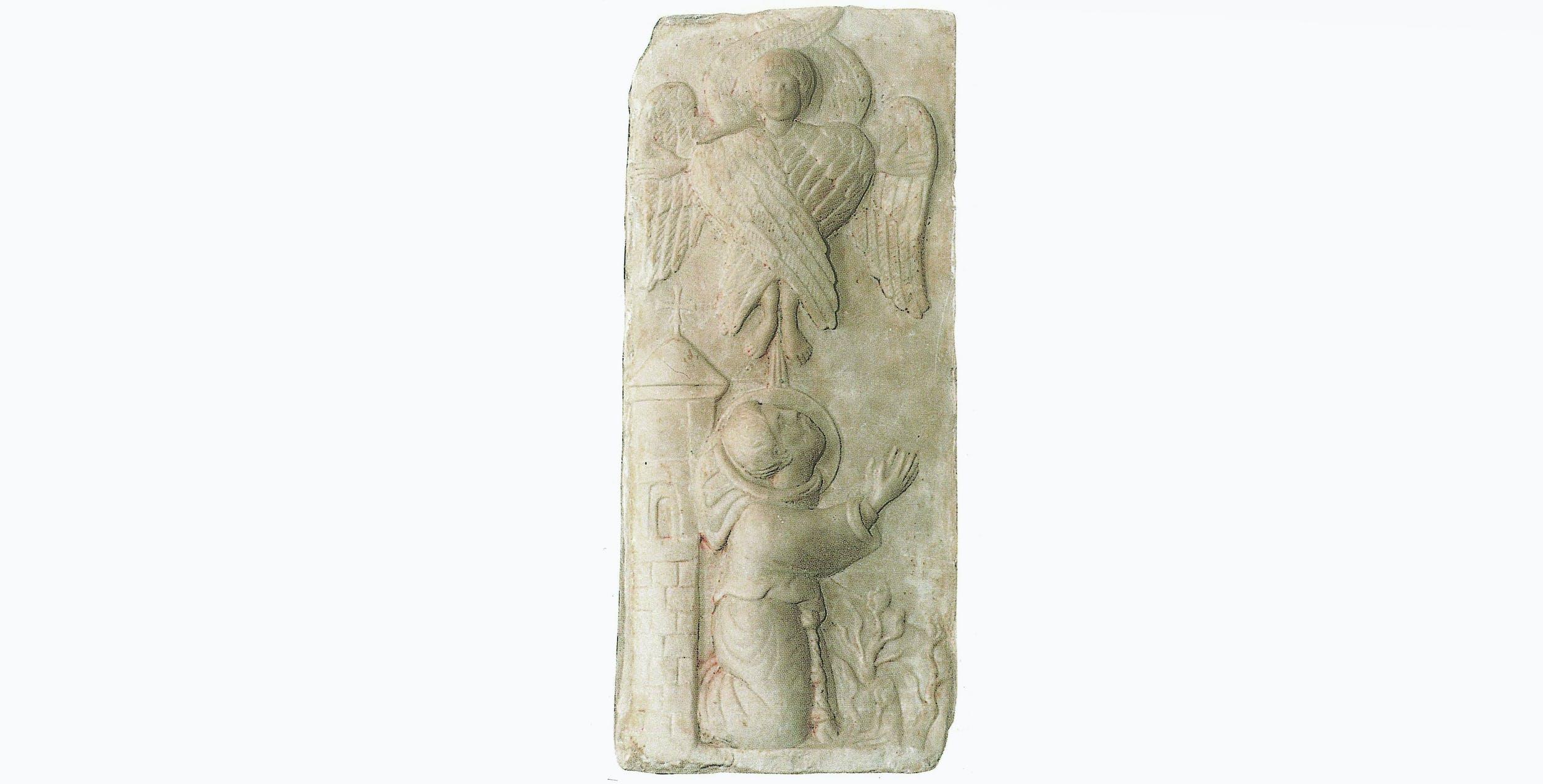 Autore ignoto, San Francesco riceve le stimmate, metà del sec. XIII.L'immagine, collocata all'ingresso della Cappella delle Stimmate alla Verna è sicuramente una delle più antiche testimonianze iconografiche del Santo e soprattutto della sua stimmatizzazione.