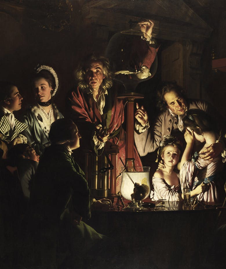 "The renowned ""Experiment"" by Joseph Wright of Derby in Italy for the first time"
