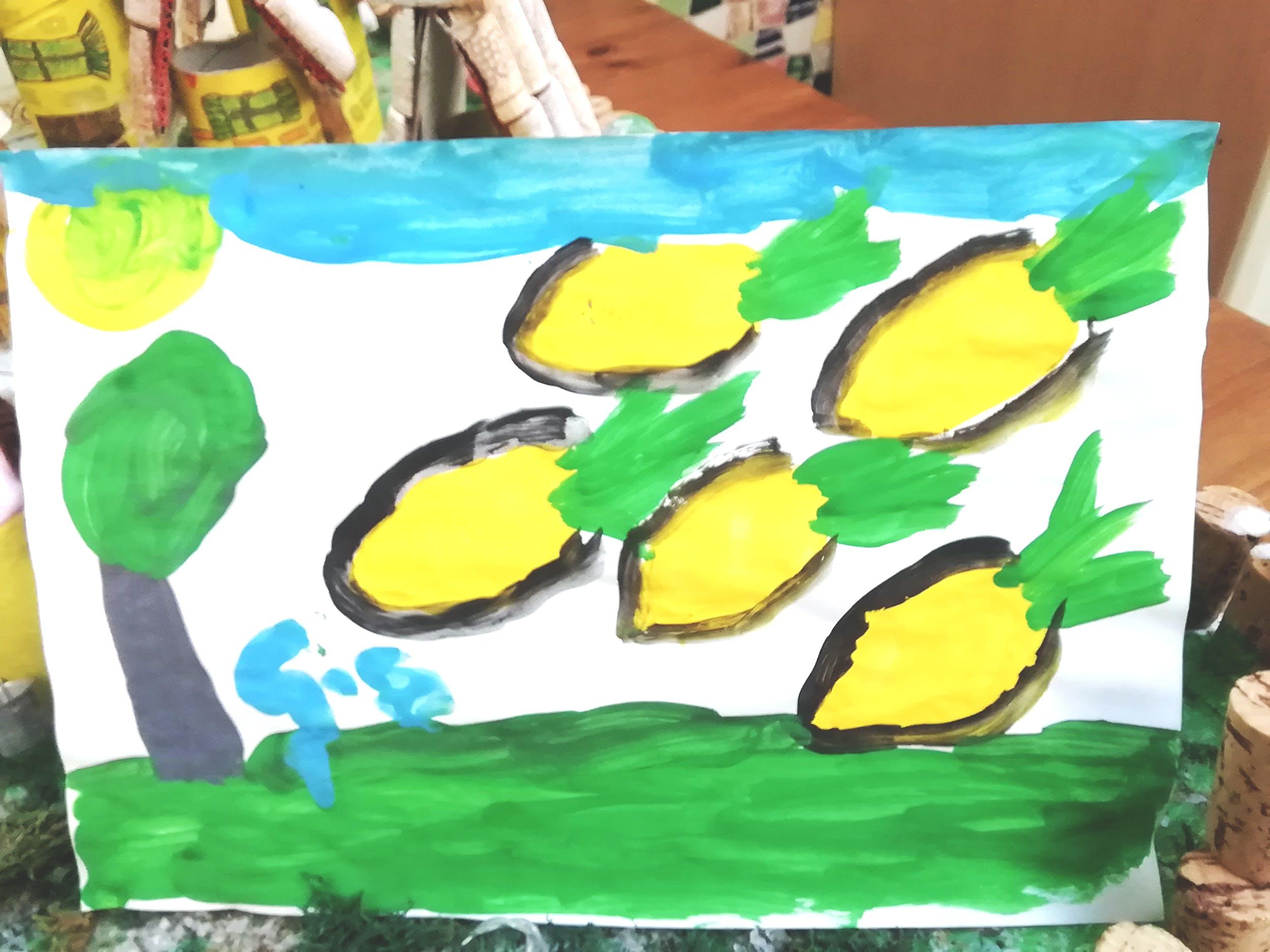 """Gabriele S., disegno ispirato alla Natura morta con frutta di Gioacchino Toma (GAM)– Centro """"La Tenda"""""""