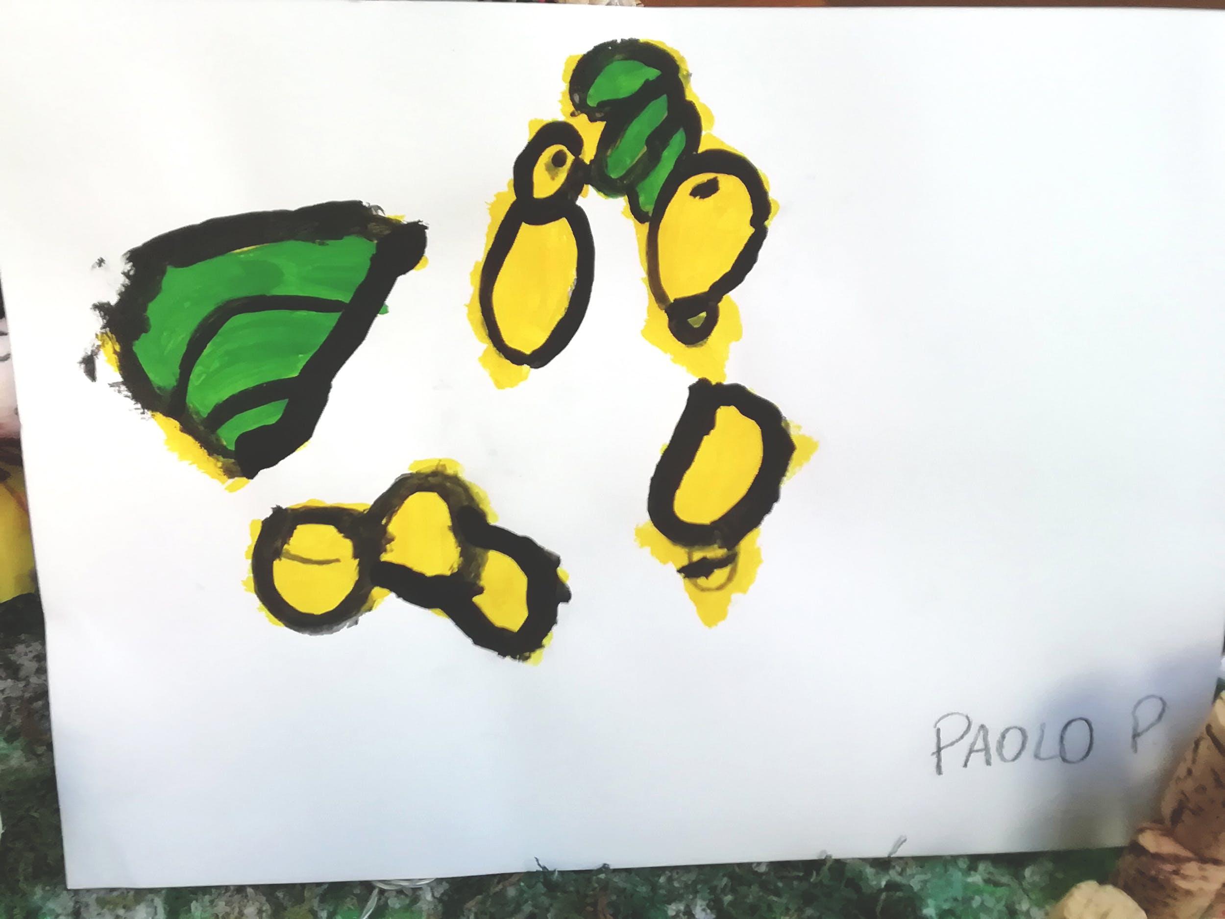 """Paolo P., disegno ispirato alla Natura morta con frutta di Gioacchino Toma (GAM)– Centro """"La Tenda"""""""