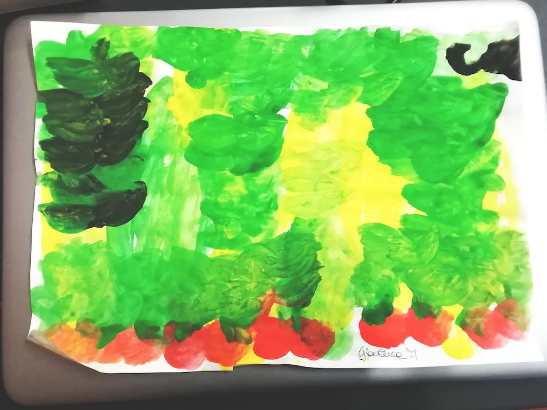 """Gianluca M., disegno ispirato alla Natura morta con frutta di Gioacchino Toma (GAM)– Centro """"La Tenda"""""""
