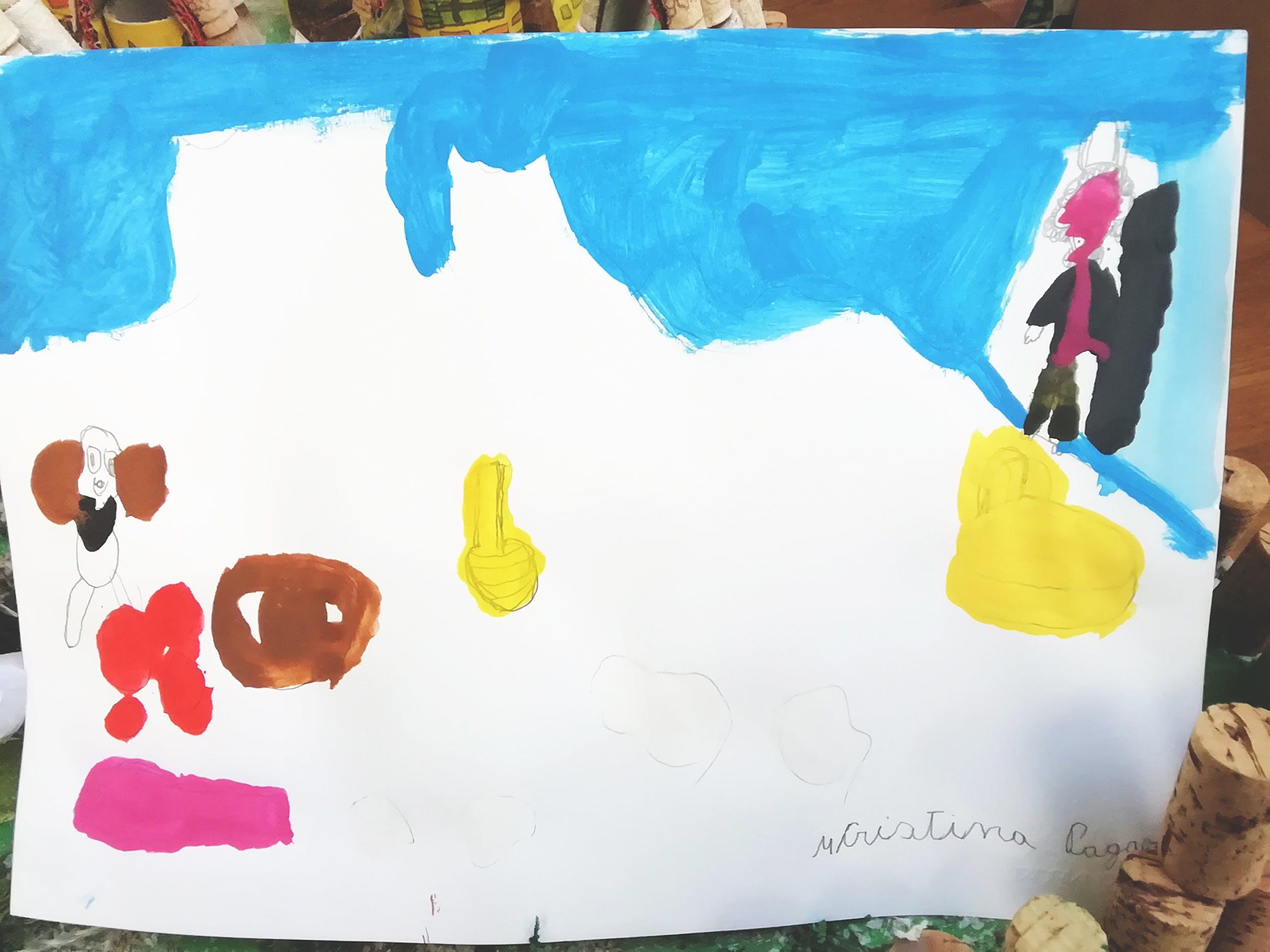 """Cristina P., disegno ispirato alla Natura morta con frutta, ortaggi e vivande, un cane e un vecchio con galline (detto: """"il vecchio di Artimino"""") di Giovanna Garzoni– Centro """"La Tenda"""""""