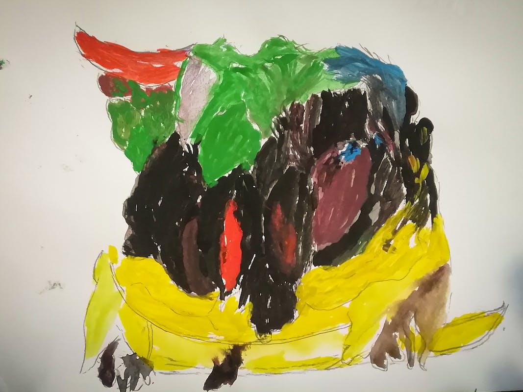 """Mario L., disegno ispirato alla Natura morta con piatto di fichi gelsomini e pere di Giovanna Garzoni (Galleria Palatina) – Centro """"La Tenda"""""""