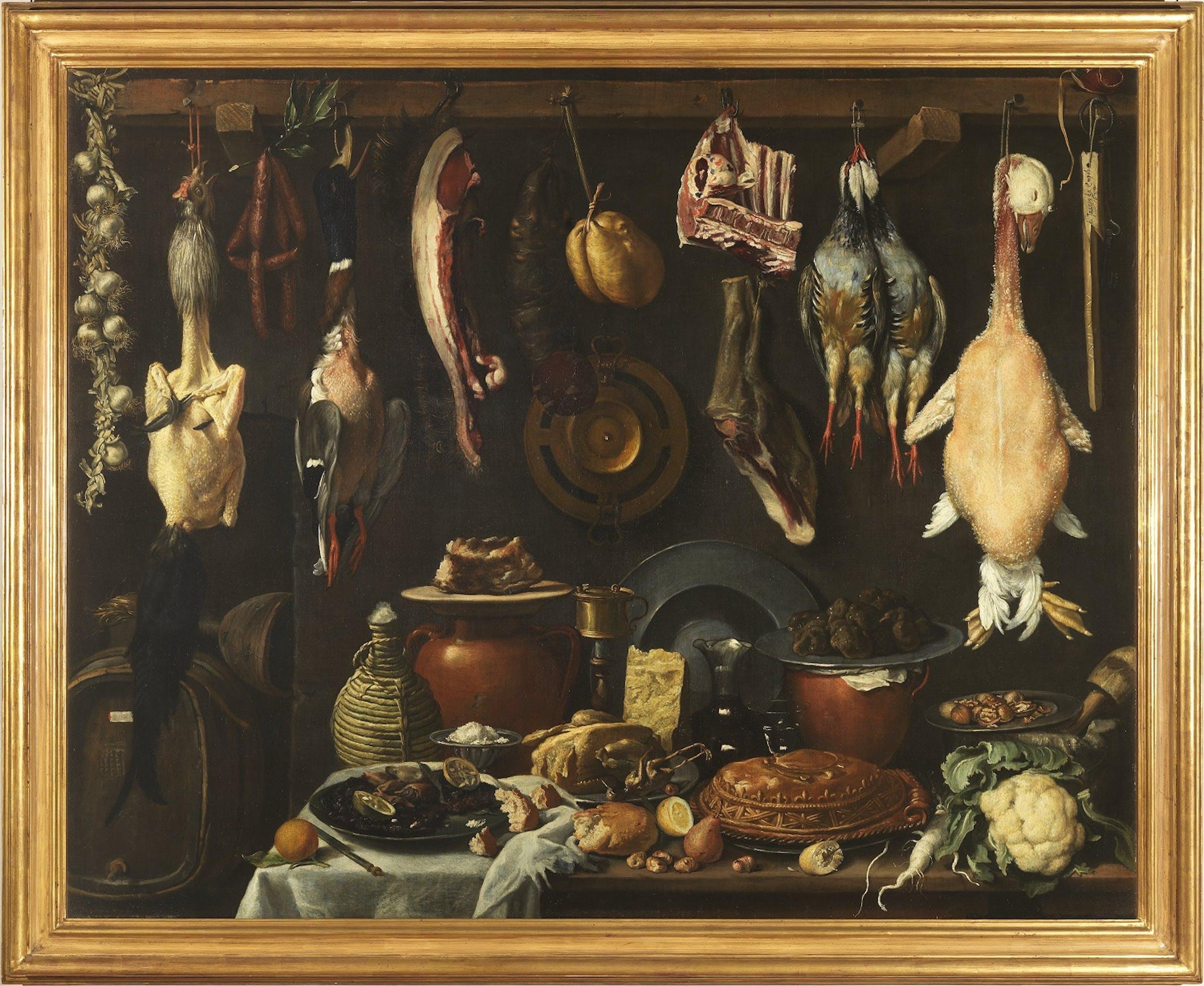 Jacopo Chimenti detto l'Empoli, Dispensa con botte, selvaggina, carni e vasellame