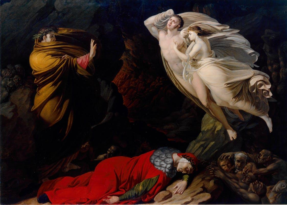 Nicola Monti (Pistoia, 1780 – Cortona, 1864) L'incontro di Paolo e Francesca 1810 olio su tela, 168 x 121 cm  Firenze, Gallerie degli Uffizi