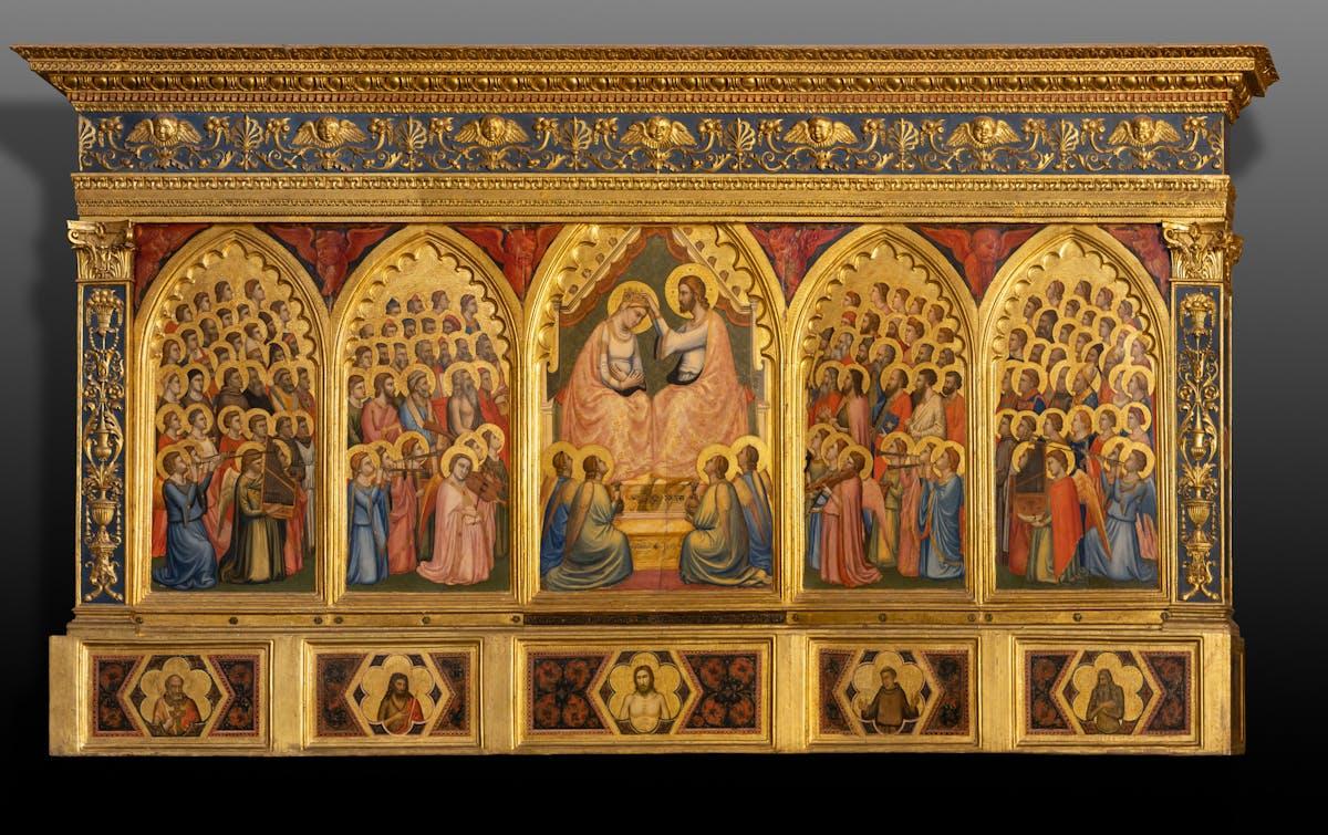 Giotto (Colle di Vespignano, 1267 – Firenze, 1337) Taddeo Gaddi (1300 circa – 1366) Incoronazione della Vergine tra angeli e santi (Polittico Baroncelli) post 1328 tempera e oro su tavola, 184 × 321 x 29 cm Firenze, Basilica di Santa Croce