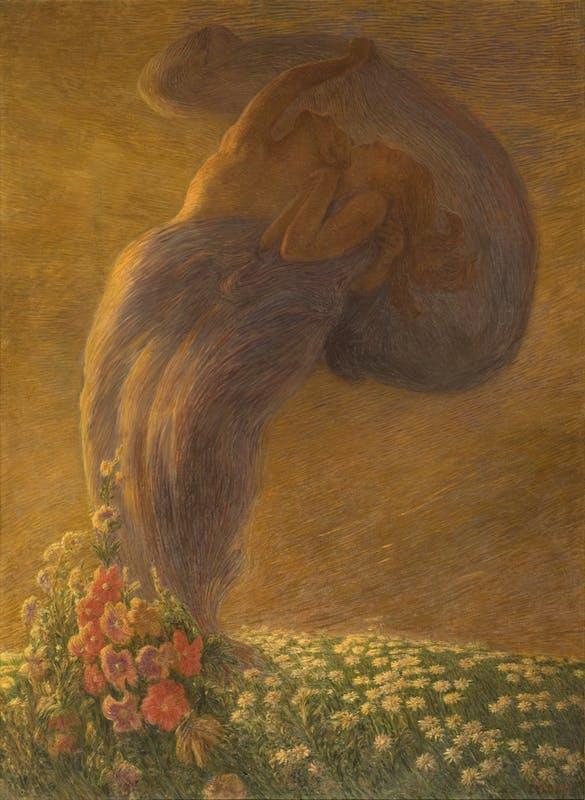 Gaetano Previati (Ferrara, 1852 – Lavagna, 1920) Il sogno 1912 olio su tela, 225 x 165 cm Svizzera, Collezione privata
