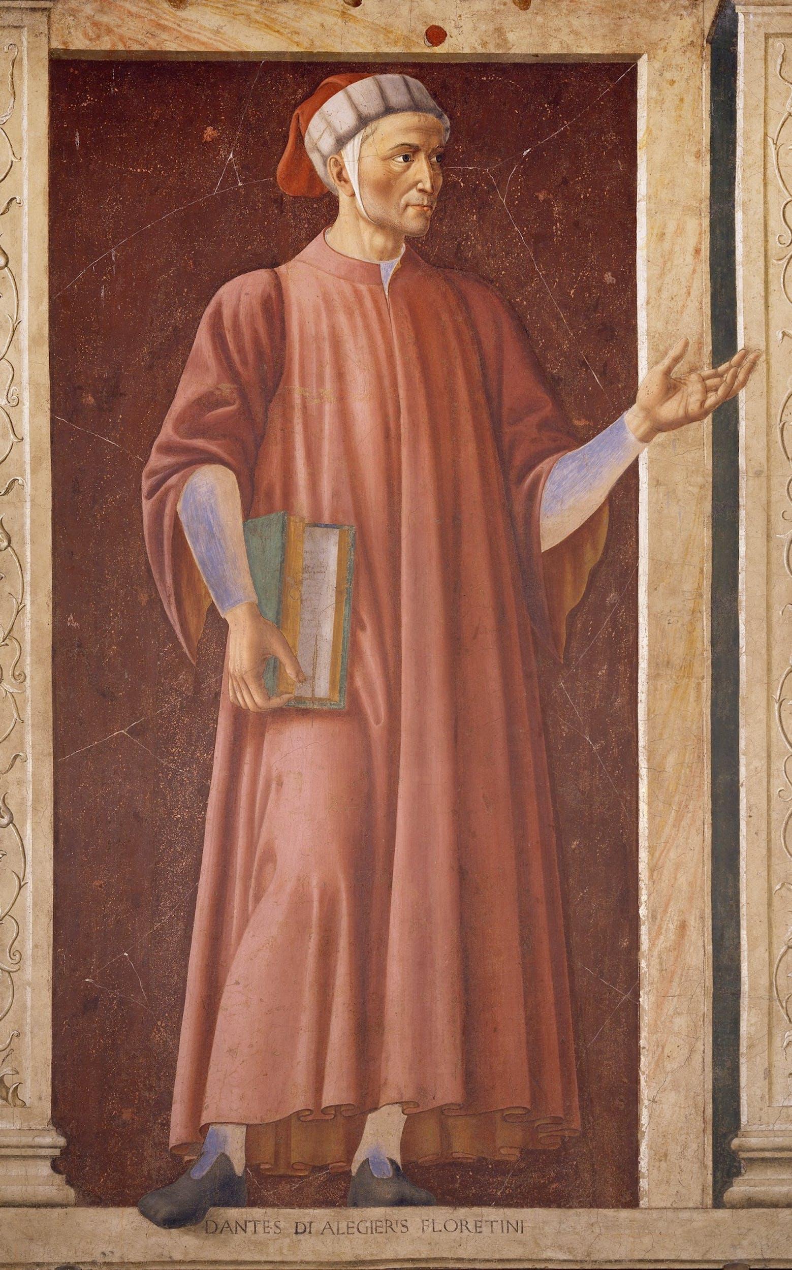 Andrea del Castagno (Castagno, 1421 – Firenze, 1457) Dante Alighieri 1448-1449 affresco strappato e applicato su tela, 250 x 150 cm Firenze, Gallerie degli Uffizi