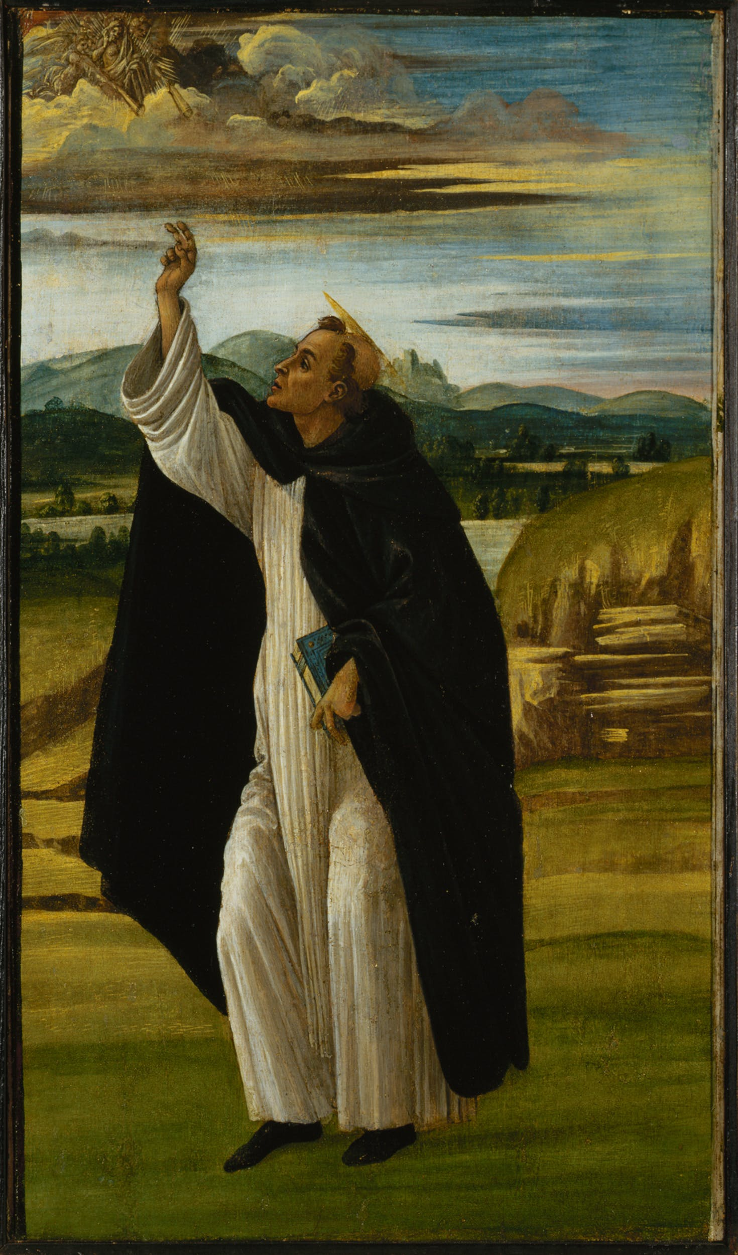 Sandro Botticelli (Firenze, 1445 – 1510) San Domenico benedicente 1498-1505 olio e tempera su tela (trasferito dalla tavola), 44,5 x 26 cm San Pietroburgo, Hermitage