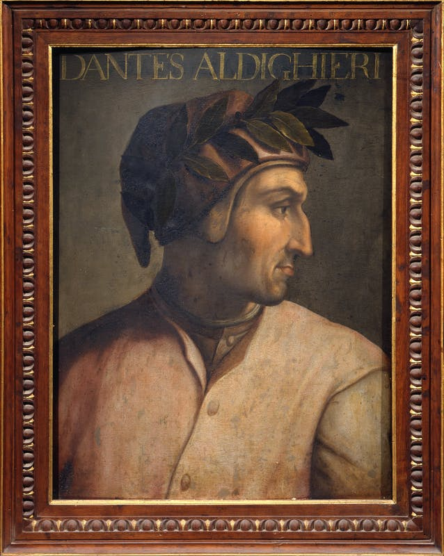 Cristofano dell'Altissimo (Firenze, 1525 – 1605) Ritratto di Dante Alighieri 1552-1568 olio su tavola, 60 x 44 cm Firenze, Gallerie degli Uffizi, Collezione Gioviana