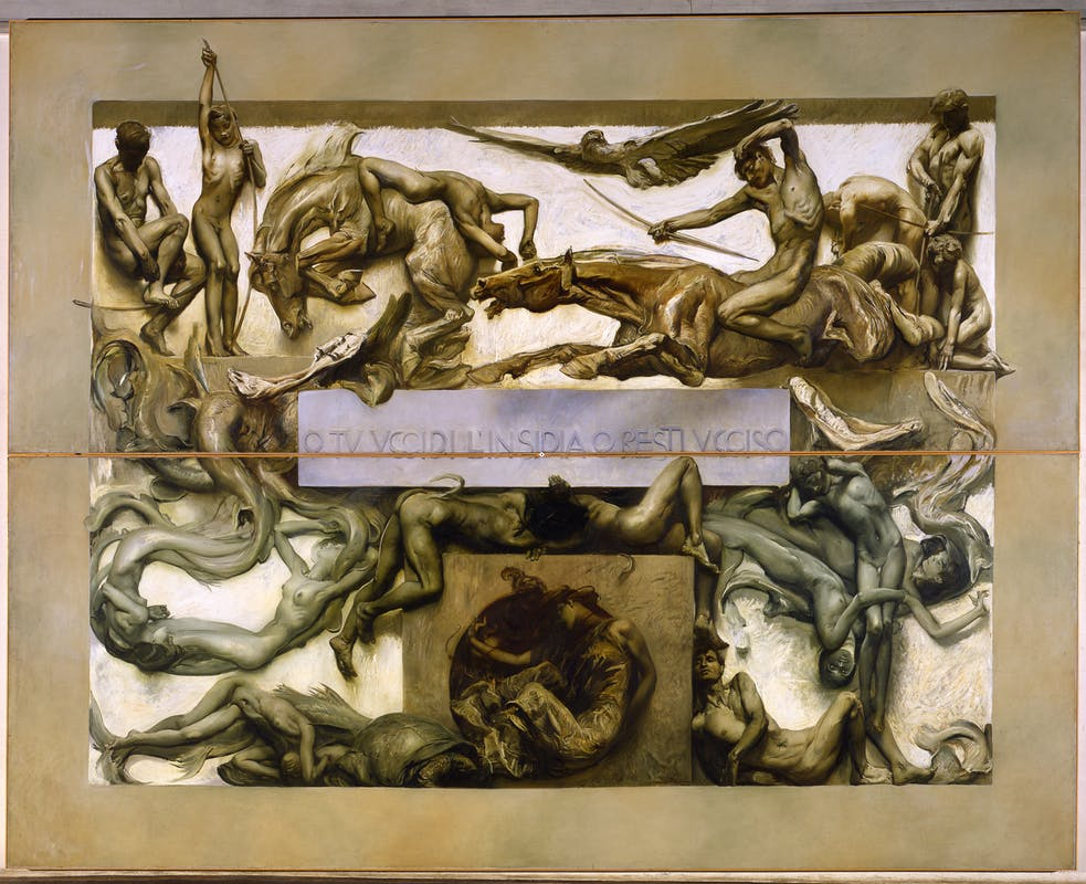 Giulio Aristide Sartorio (Roma, 1860 – Roma, 1932) La Morte (parte del ciclo Il Poema della Vita Umana) 1906-1907 olio ed encausto a freddo su tela, 513 × 712 cm Venezia, Fondazione Musei Civici di Venezia