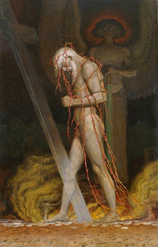 Sascha Schneider (San Pietroburgo, 1870 – Swinemünde, 1927) Giuda Iscariota 1923 olio su tela, 131 x 84 cm Dresda, Albertinum I Galerie Neue Meister, Staatliche Kunstsammlungen