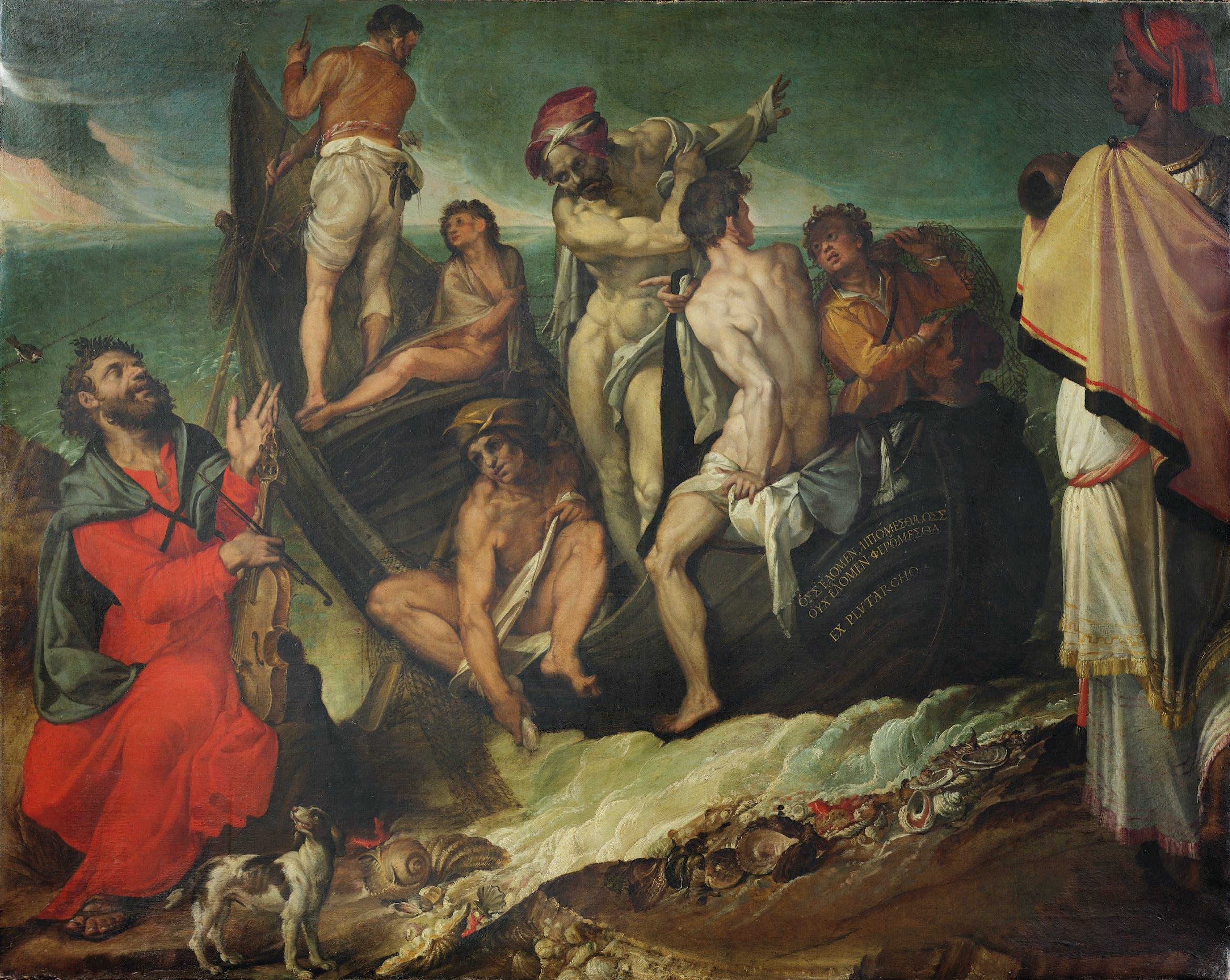 Bartolomeo Passerotti (Bologna, 1529-1592)  L'enigma di Omero  1570-1575 circa  Olio su tela  cm 120 x 144