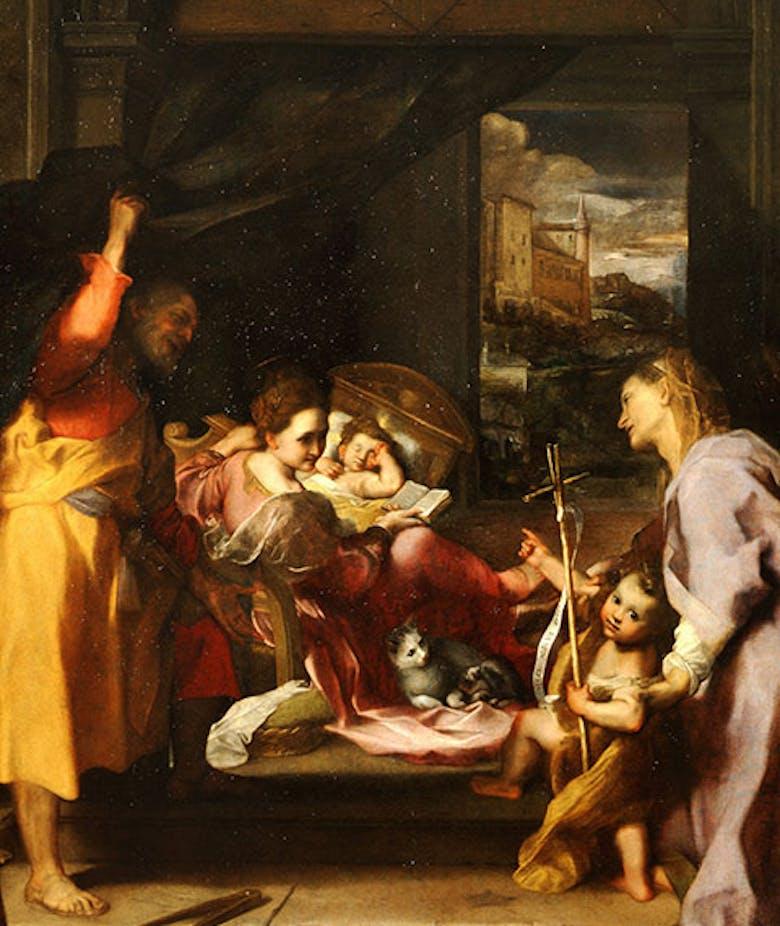 """Visita di Sant'Elisabetta, con San Giovanni Battista e San Zaccaria, alla Madonna col Bambino e San Giuseppe, detta """"Madonna della gatta"""""""
