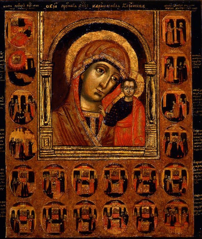 """Icona """"Madre di Dio di Kazan e i miracoli dell'icona"""""""
