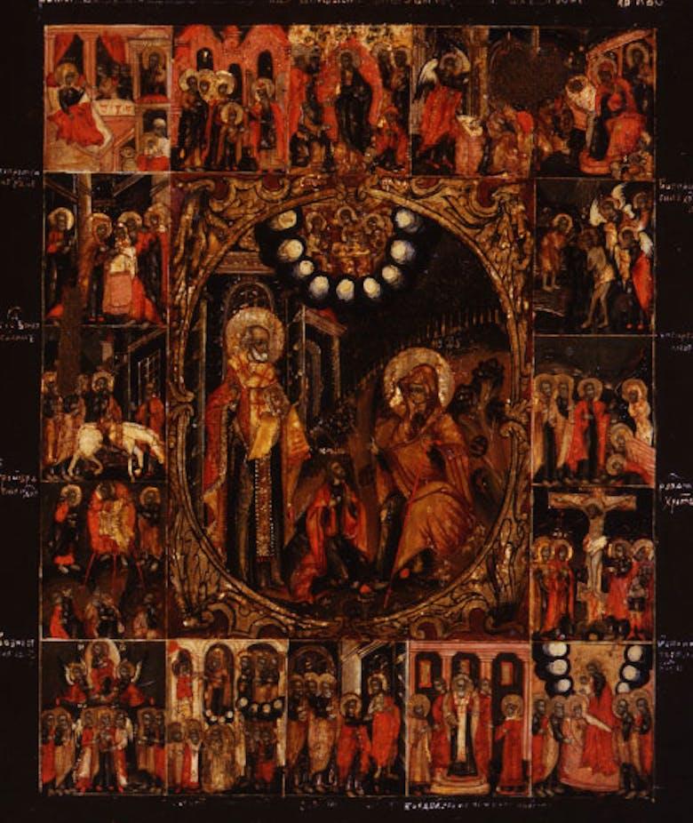 """Icona """"Apparizione della Madre di Dio e di san Nicola al sacrestano Juryš, con scene delle festività"""""""