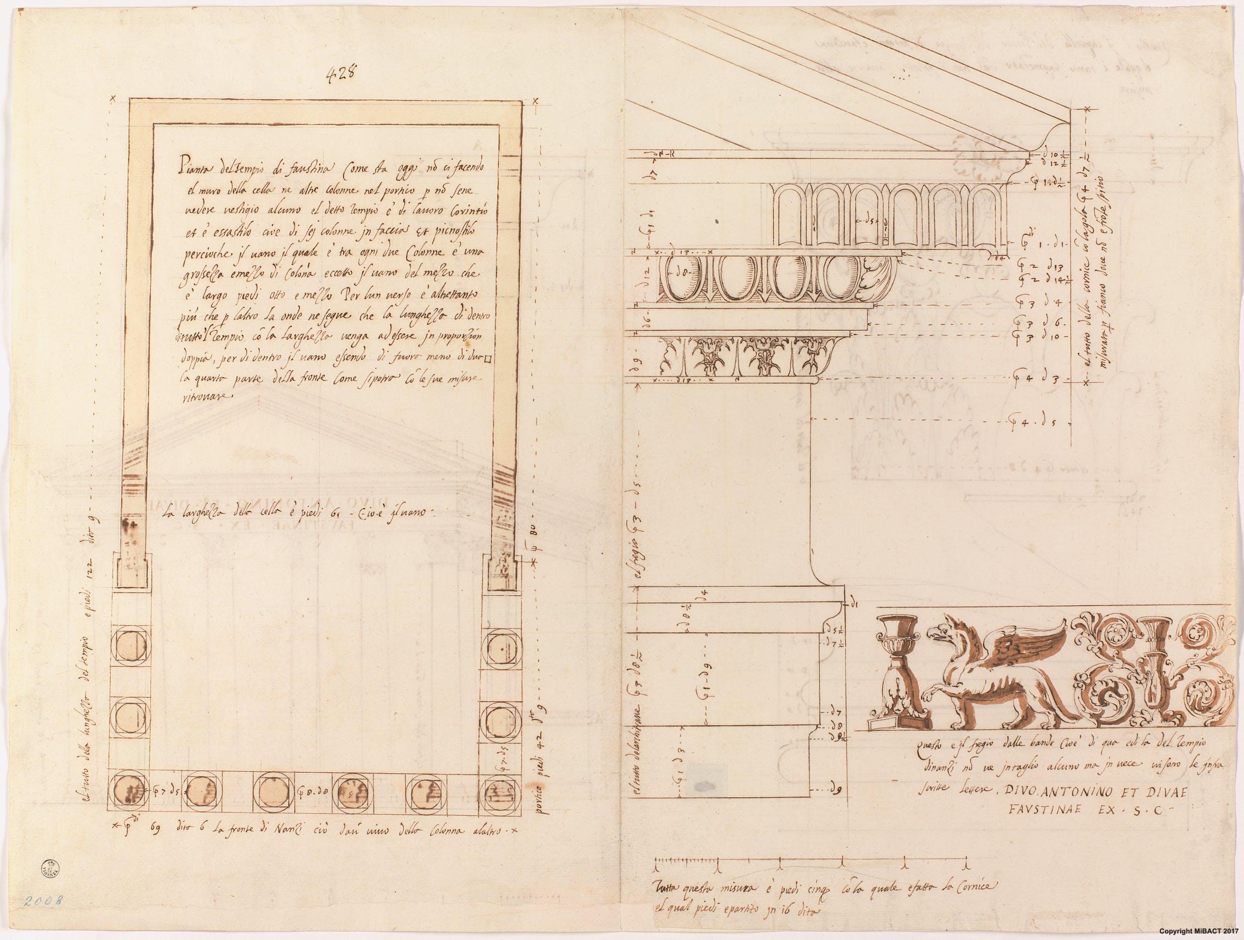 Tempio di Antonino e Faustina, recto