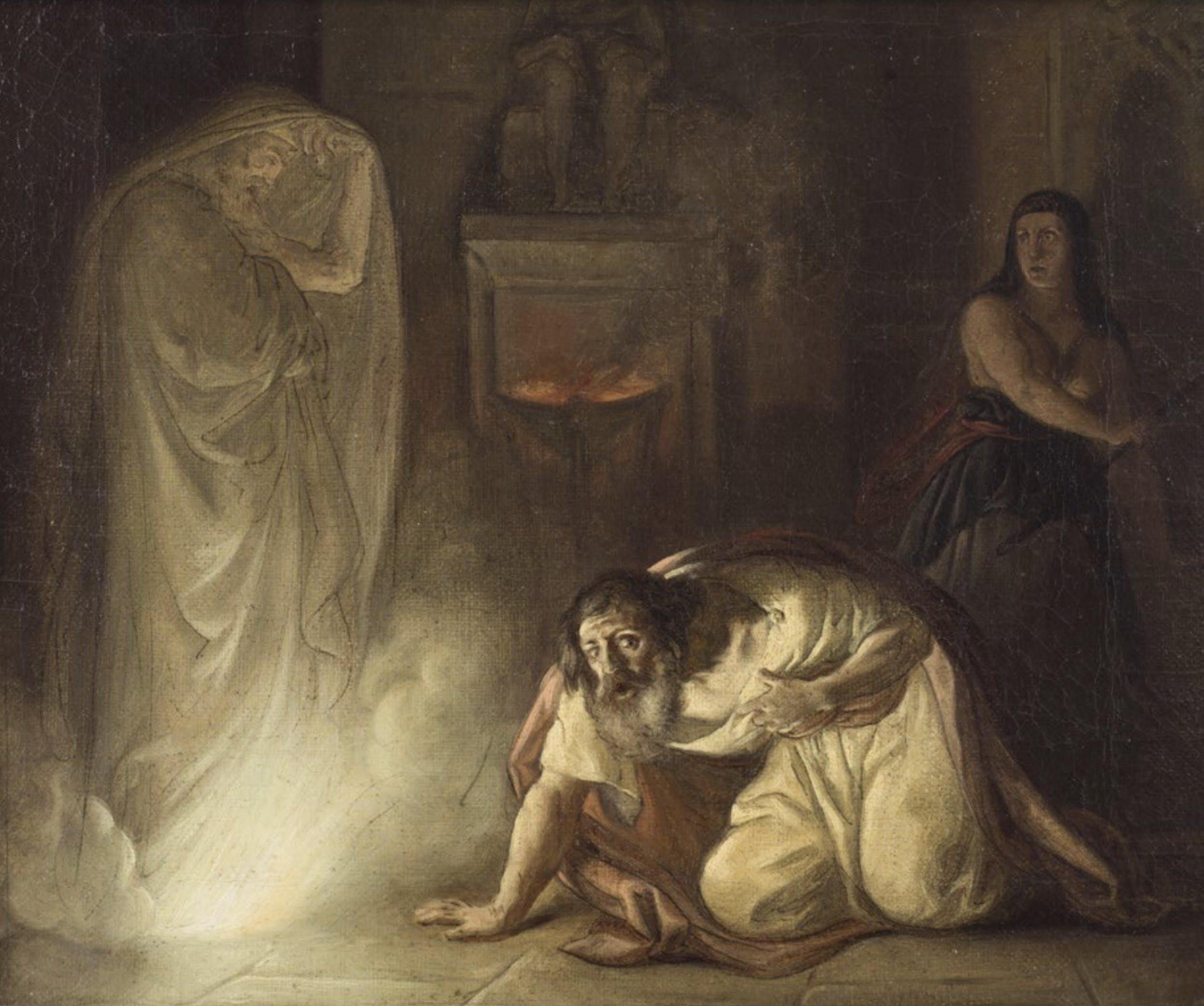 Giuseppe Sabatelli (Milano, 24 giugno 1813 – Firenze, 27 febbraio 1843), La maga di Endor evoca davanti a Saul lo spettro di Samuele, 1841