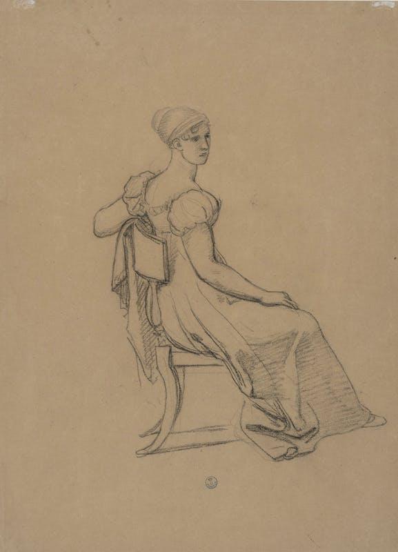 Pietro Benvenuti (Arezzo 1769-Firenze 1844) Studio per una dama  Matita nera su carta beige Firenze, Gabinetto e Stampe degli Uffizi inv.n.20961