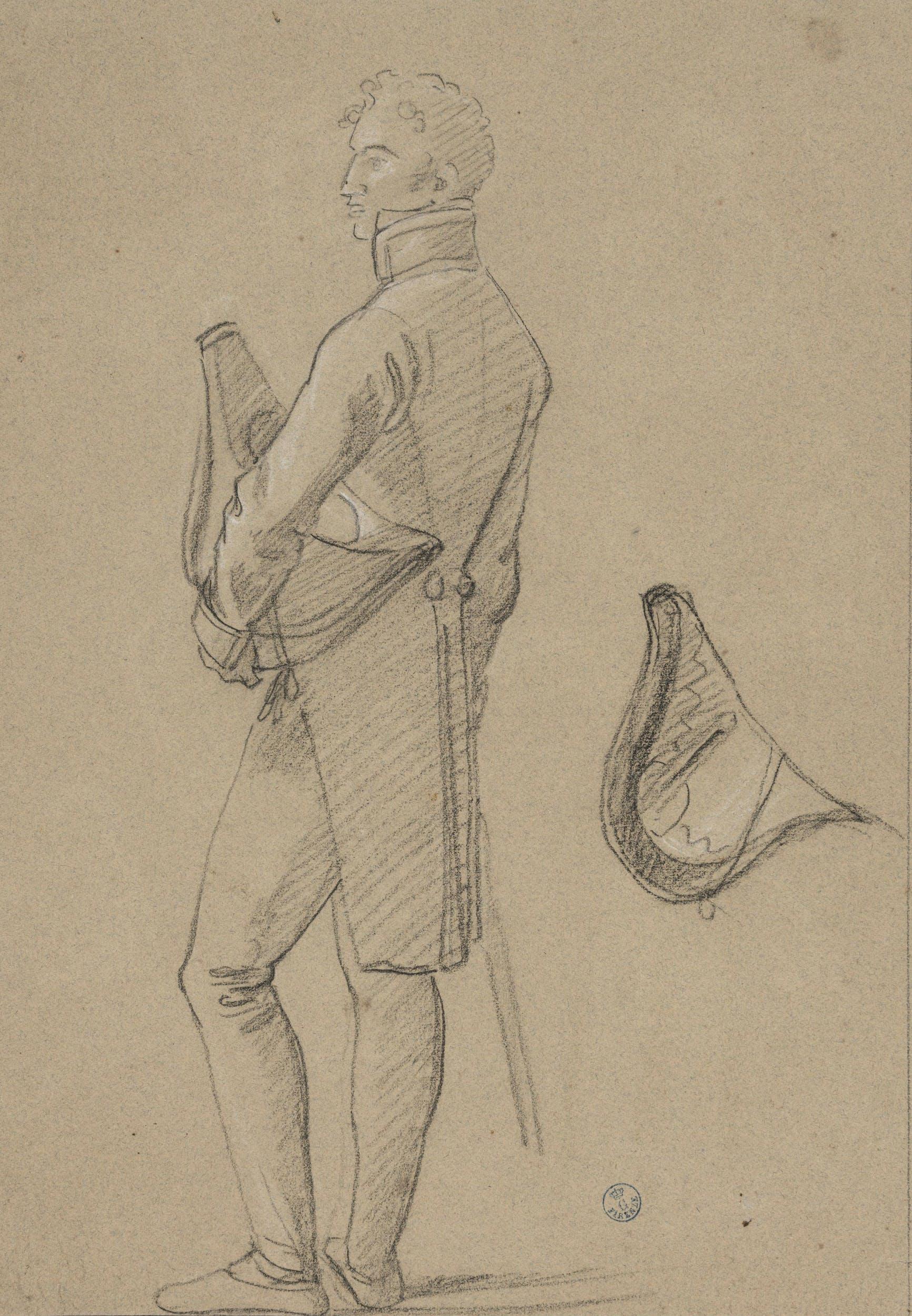 Pietro Benvenuti (Arezzo 1769-Firenze 1844) Studio per la figura di Felice Pasquale Baciocchi Matita nera su carta beige, tracce di biacca bianca Gabinetto dei Disegni e Stampe degli Uffizi, n. Inv. 20963