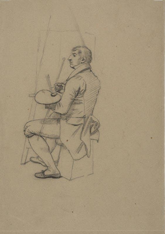 Studio per la figura di Francois-Xavier Fabre Matita nera su carta beige Firenze, Gabinetto dei Disegni e Stampe degli Uffizi, inv. n. 12019 S v.