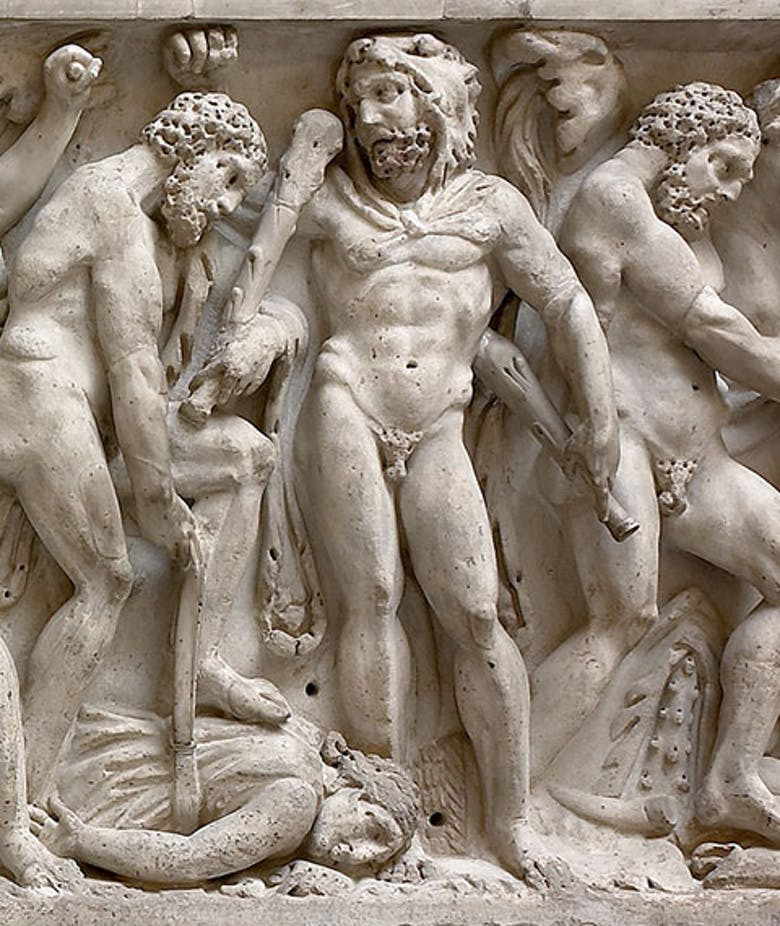 Front of sarcophagus depicting the Labours of Hercules