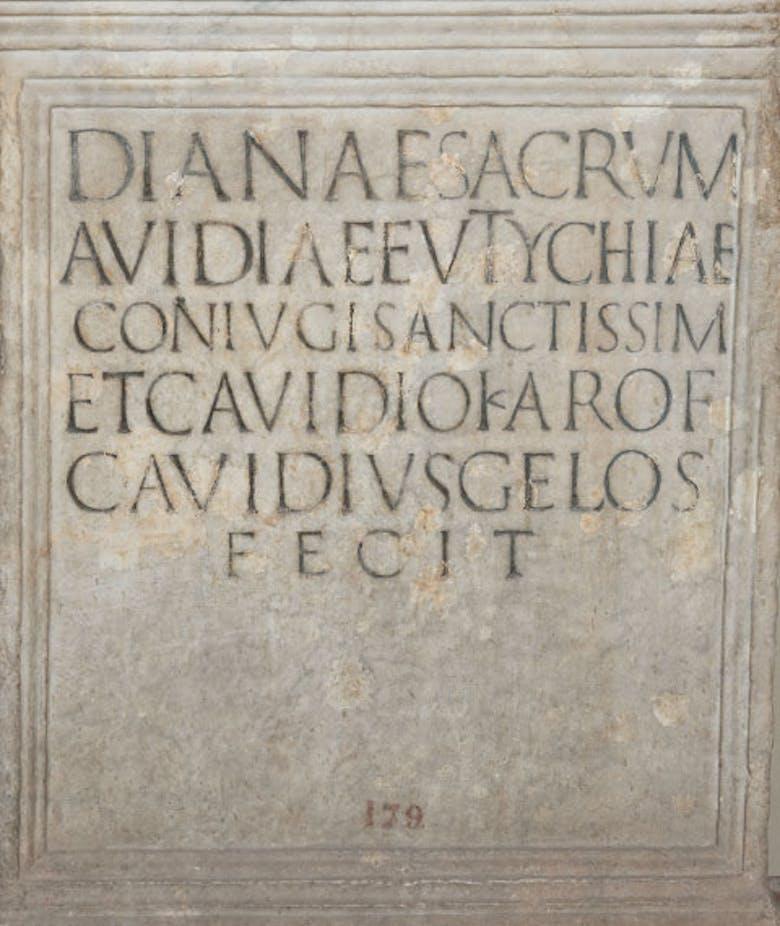 Altar in honour of Avidia Eutychia and her son