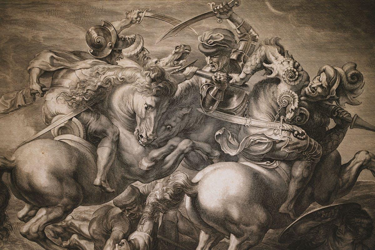 Gérard Edelinck (Anversa 1640 – Parigi 1707) , incisione dalla copia di Rubens dal perduto cartone di Leonardo per la Battaglia di Anghiari