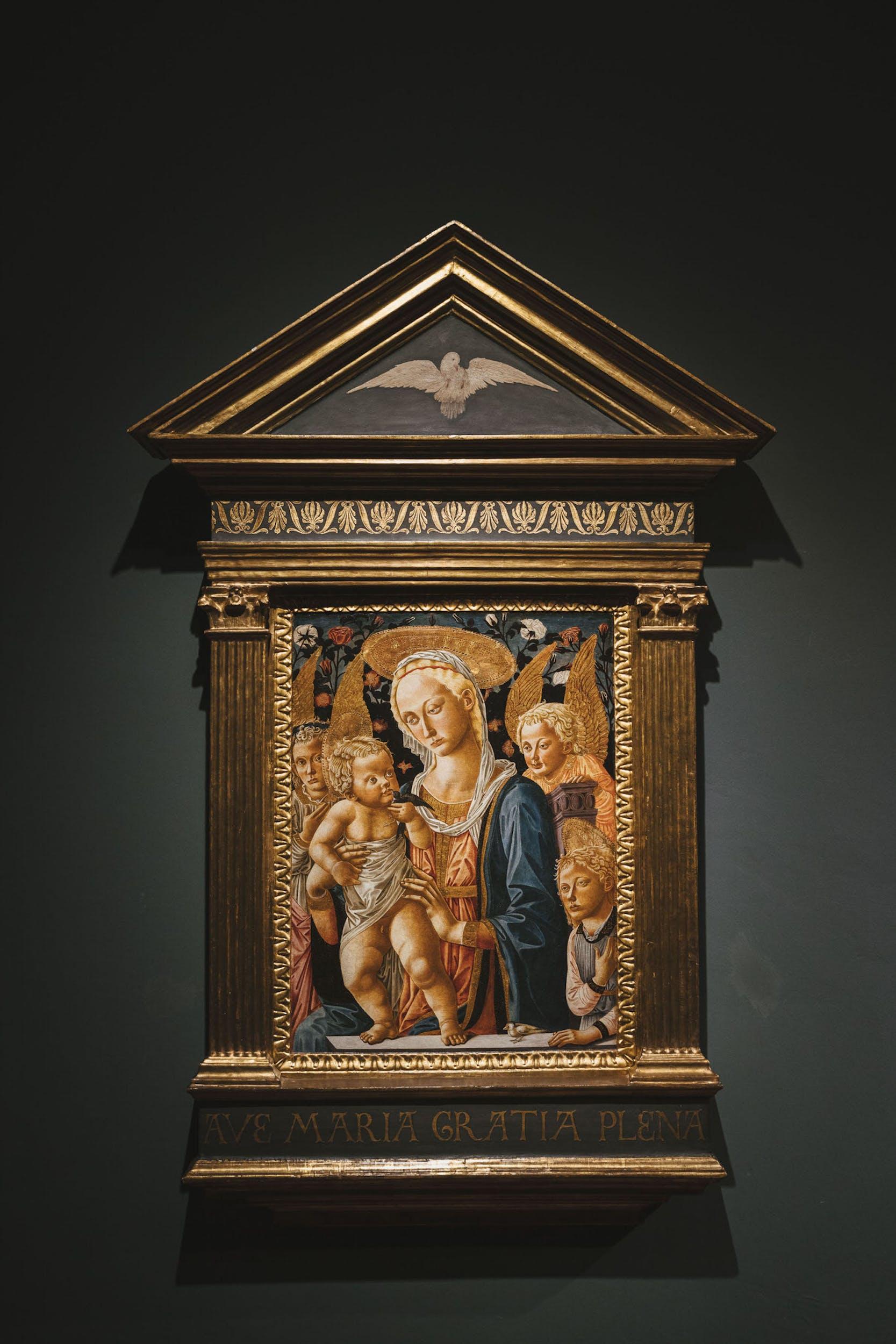 Scuola fiorentina (Pseudo Pier Francesco Fiorentino) Vergine con Bambino,1459, Tempera su tavola, Gallerie degli Uffizi