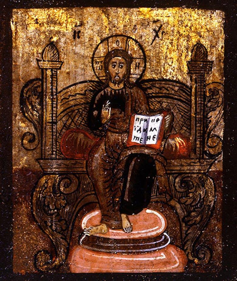 Icona di Cristo onnipotente in trono